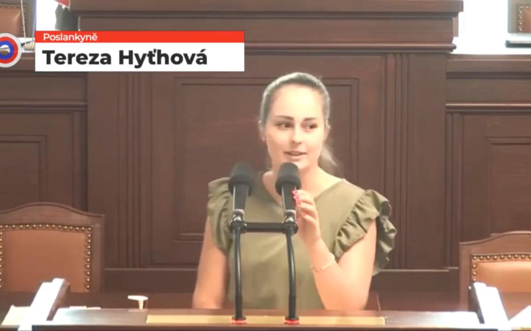 Poslankyně Tereza Hyťhová se ostře pustila do Čižinského aPirátů